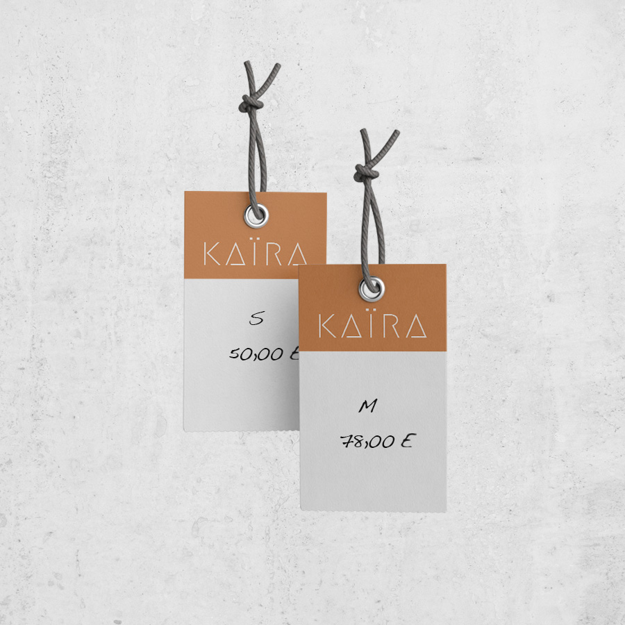 diseño etiquetas kaira tienda ropa hondarribia