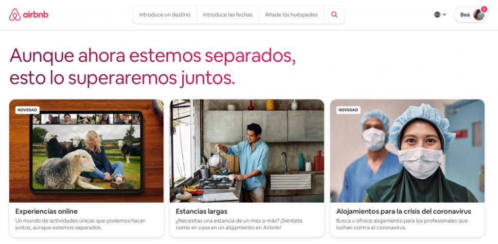 ejemplo marca covid acciones airbnb